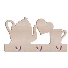 KD30 Kupa Çaydanlıklı Kalpli  Anahtarlık Askılık