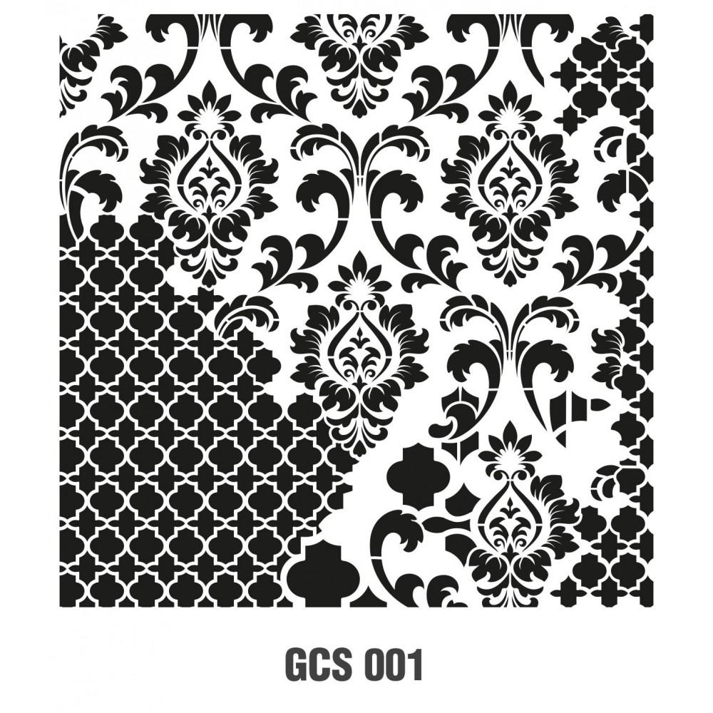 GCS001 Grunge Duvar Stencil 45x45cm